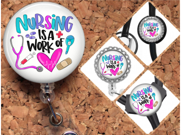 Nurse Badge Reel Retractable Lanyard Badge Holder Carabiner Id Holder Stethoscope Tag Nurse Badge Reel Gift Work of the Heart Mylar B1125