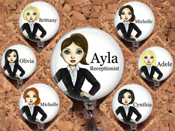 Business Woman Badge Reel, Personalized Retractable ID Holder, Office Customized Lanyard, Hair Choice Carabiner, Stethoscope, Mylar 8015