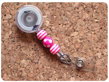 Interchangeable Badge Reel Base, Beaded Retractable ID Holder, Switchable Badge Reel or Lanyard, Pink Dots and Stripes