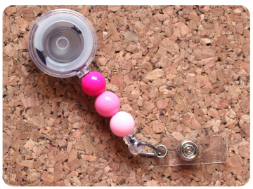 Interchangeable Badge Reel Base, Beaded Retractable ID Holder, Switchable Badge Reel or Lanyard, Shades of Pink
