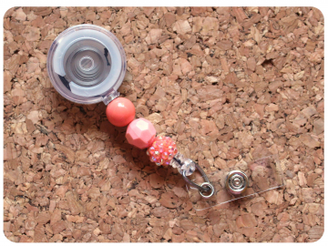 Interchangeable Badge Reel Base, Beaded Retractable ID Holder, Switchable Badge Reel or Lanyard, Apricot