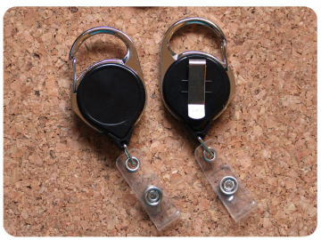 Carabiner with a Belt Clip on the back at The Badge Patch, Switchable Base, Permanent or Interchangeable