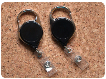Carabiner Badge Reel at The Badge Patch, Switchable Base, Permanent or Interchangeable