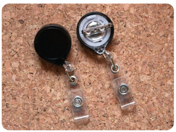 Pin Back Badge Reel, Switchable Base, Permanent or Interchangeable