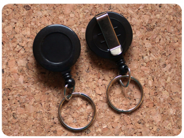 Black Belt Clip Badge Reel with Key Ring, Switchable Base, Permanent or Interchangeable
