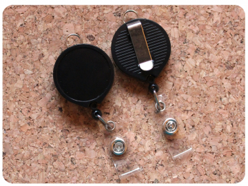 Belt Clip Back Reel with Lanyard Clip, Switchable Base, Permanent or Interchangeable
