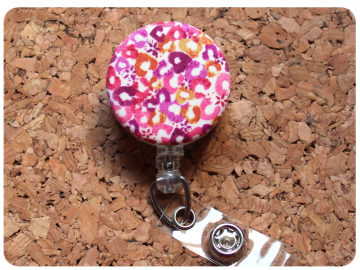 Fabric Floral Badge Reel, Retractable Lanyard ID Holder, Brooch Pin, Key Ring, Zipper Pull, Bookmark Planner Clip, Magnet   F107