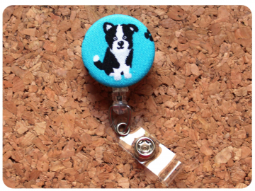 Border Collie Fabric Badge Reel, Retractable Lanyard ID Holder, Brooch Pin, Key Ring, Zipper Pull, Bookmark Planner Clip, Magnet   F120-9