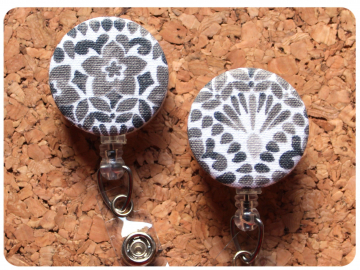Fabric Floral Badge Reel, Retractable Lanyard ID Holder, Brooch Pin, Key Ring, Zipper Pull, Bookmark Planner Clip, Magnet   F112