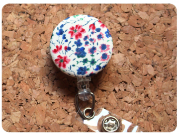 Fabric Floral Badge Reel, Retractable Lanyard ID Holder, Brooch Pin, Key Ring, Zipper Pull, Bookmark Planner Clip, Magnet   F105