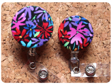 Fabric Floral Badge Reel, Retractable Lanyard ID Holder, Brooch Pin, Key Ring, Zipper Pull, Bookmark Planner Clip, Magnet   F115