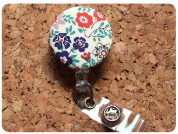 Fabric Floral Badge Reel, Retractable Lanyard ID Holder, Brooch Pin, Key Ring, Zipper Pull, Bookmark Planner Clip, Magnet   F104