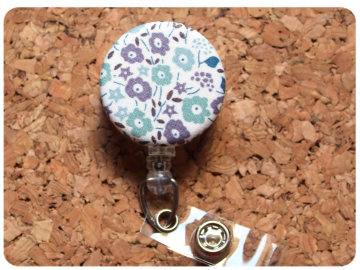 Fabric Floral Badge Reel, Retractable Lanyard ID Holder, Brooch Pin, Key Ring, Zipper Pull, Bookmark Planner Clip, Magnet   F103
