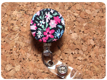 Fabric Floral Badge Reel, Retractable Lanyard ID Holder, Brooch Pin, Key Ring, Zipper Pull, Bookmark Planner Clip, Magnet   F100