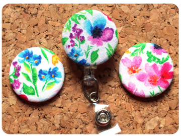 Fabric Floral Badge Reel, Retractable Lanyard ID Holder, Brooch Pin, Key Ring, Zipper Pull, Bookmark Planner Clip, Magnet   F116