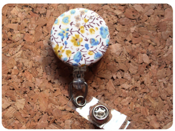 Fabric Floral Badge Reel, Retractable Lanyard ID Holder, Brooch Pin, Key Ring, Zipper Pull, Bookmark Planner Clip, Magnet   F108