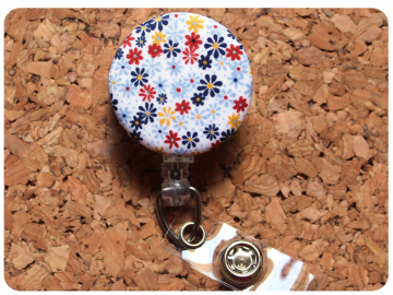 Fabric Floral Badge Reel, Retractable Lanyard ID Holder, Brooch Pin, Key Ring, Zipper Pull, Bookmark Planner Clip, Magnet   F102