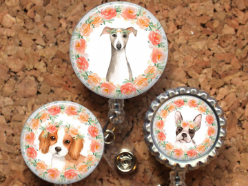 Dog Badge Reel, Retractable ID Holder, Lanyard, Spaniel, Boston Terrier, Greyhound, Card Holder, Carabiner, Stethoscope Tag, Mylar