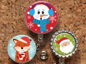 Christmas Badge Reel, Retractable ID Holder, Lanyard, Badge Pull, Card Holder, Carabiner, Stethoscope Tag, The Badge Patch, Mylar