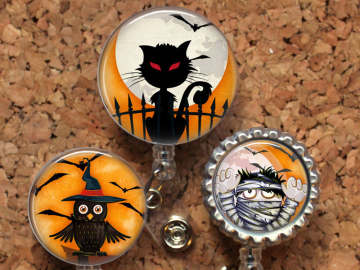 Halloween Retractable ID Badge Reel, Personalized Badge Holder, Id Badge Pull, Gift for Nurses, Gifts for Teachers, Wipe Clean Mylar
