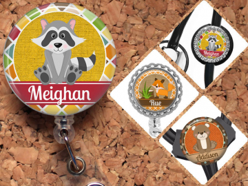 Fox Retractable ID Badge Reel, Raccoon Personalized Badge Holder, Bear Badge Reel, Gifts for Nurses or Teachers, Woodland Animals, Mylar,