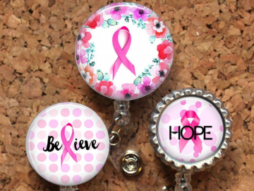 Breast Cancer Awareness Badge Reel, Retractable ID Holder, Lanyard, Badge Pull, Card Holder, Carabiner, Stethoscope Tag, Mylar