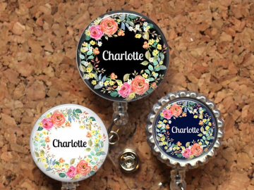 Flowers Badge Reel, Personalized Retractable ID Holder, Lanyard, Badge Pull, Card Holder, Carabiner, Stethoscope Tag, Mylar, OFlowers1