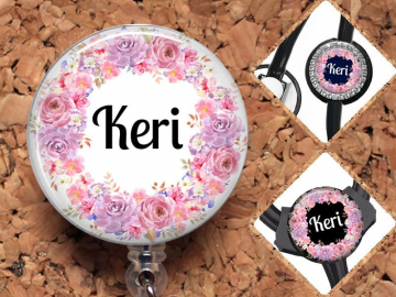Badge Reel, Personalized Flower Retractable ID Holder, Lanyard, Stethoscope Tag, Yoke Tag - fits Littmann, Carabiner, Mylar, OFlowers6
