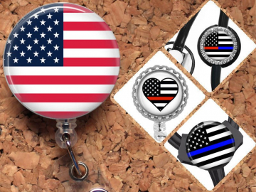 Badge Reel ID Holder, USA Flag, Police, Fireman, Lanyard, Carabiner, Stethoscope Tag, Yoke Tag - Fits all steths including Littman, Mylar