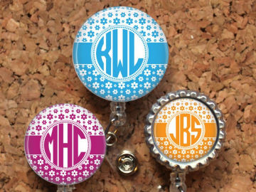 Flower Badge Reel, Personalized Retractable ID Holder, Lanyard, Badge Pull, Choice of Colors, Carabiner, Stethoscope Tag, Monogram, Mylar