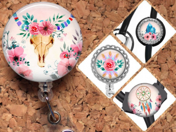 Boho Badge Reel ID Holder, Watercolor Lanyard, Carabiner, Stethoscope Tag, Yoke Tag - Fits all stethoscopes including Littman, Mylar