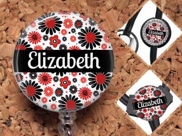 Flower Badge Reel, Personalized Retractable ID Holder, Lanyard, Badge Pull, Card Holder, Carabiner, Stethoscope Tag,  RN, SLP Mylar