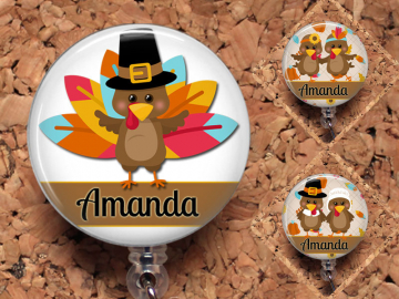 Thanksgiving Badge Reel, Turkey Retractable ID Holder, Holiday Lanyard, Pilgrims, Indians, Carabiner, Stethoscope Tag, Badge Patch, Mylar