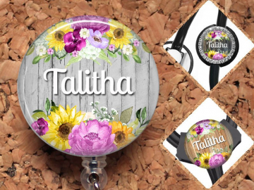 Flower Badge Reel, Personalized Retractable ID Holder, Lanyard, Badge Holder, ID Card Holder, Carabiner, Stethoscope Tag, Mylar