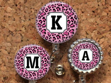 Animal Print Badge Reel, Pink Leopard Initial ID Badge, Pink Lanyard, Retractable Name Holder, Nurse, Teacher, Personalized, Mylar