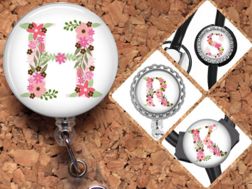 Flower Initial Badge Reel, Summer ID Badge, Pink Lanyard, Retractable Name Holder, Nurse Gift, Teacher Gift, Personalized Gift, Mylar