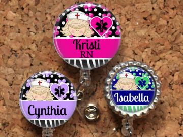 Nurse Badge Reel, Personalized Retractable ID Holder, Lanyard, Badge Pull, Choice of Colors, Carabiner, Stethoscope Tag, Mylar,  Blonde
