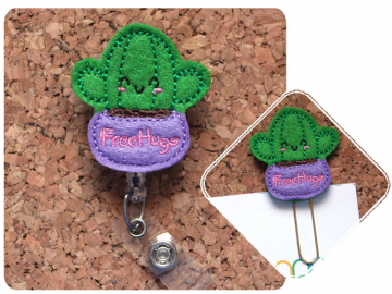 Cactus Planner Clip, Felt Paper Clip, Refrigerator Magnet, Pin, Planner Accessories, Ribbon Bookmark, Badge Reel, Lanyard, Free Hugs 1718