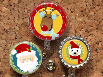 Christmas Badge Reel, Retractable ID Holder, Spring Lanyard, Badge Pull, Card Holder, Carabiner, Stethoscope Tag, Reindeer, Santa, Mylar