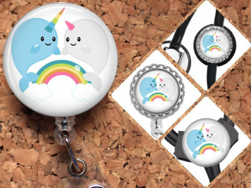 Narwhal Badge Reel, Rainbow,  Lanyard, Retractable ID Name Holder, Nurse Gift, Doctor Gift, Pediatric Badge Reel, Nicu, MBU, RN Gift, Mylar