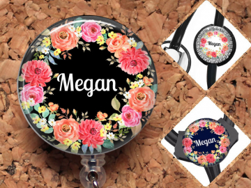 Badge Reel, Personalized Flower Retractable ID Holder, Lanyard, Stethoscope Tag, Yoke Tag - fits Littmann, Carabiner, Mylar, OFlowers5