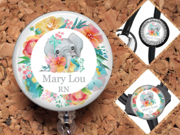 Elephant Badge Reel, Personalized Badge ID Holder, Gifts for Nurses or Teacher, Watercolor Flowers, Stethoscope Tag, Cute Badge Reel, Mylar,