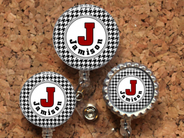 Houndstooth Badge Reel, Personalized Retractable ID Holder, Lanyard, Badge Pull, Card Holder, Carabiner, Stethoscope Tag, Mylar