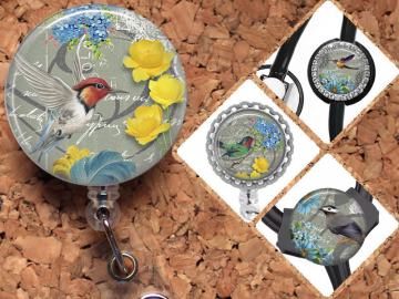 Bird Badge Reel, Retractable ID Holder, Lanyard, Badge Pull, Card Holder, Carabiner, Stethoscope Tag, The Badge Patch, Mylar