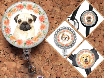 Dog Badge Reel, Retractable ID Holder, Lanyard, Pug, Dachshund, Shitz Tzu, Card Holder, Carabiner, Stethoscope Tag, The Badge Patch, Mylar