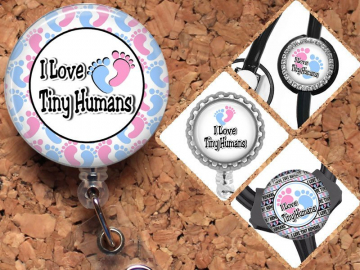 NICU Badge Reel ID Holder MBU Maternity Baby Feet Lanyard, Carabiner, Steth Tag, Yoke Tag Fits all stethoscopes including Littman, Mylar