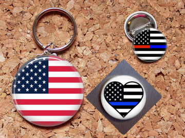 Patriotic Key Chain, Magnet, Police Key Chain, Fireman Pin, Refrigerator Magnet, Key Ring, Brooch Pin, Fridge Magnet, Key Holder, Support