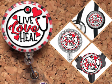Live, Love, Heal Badge Reel, Lanyard, Stethoscope Tag, Yoke Tag, Carabiner