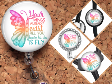 Butterfly Badge Reel Retractable Lanyard Badge Holder Carabiner Id Holder Stethoscope Tag Nurse Badge Reel Gift Mylar B1091