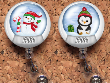 Snow Globe Badge Reel, Santa Retractable ID Holder, Holiday Lanyard, Christmas Carabiner, Personalized Stethoscope Tag, Badge Patch, Mylar